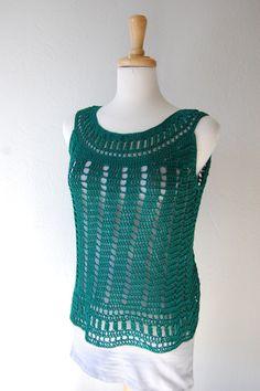 Crochet Tank Top en verde esmeralda algodón Womans tamaño pequeño / medio