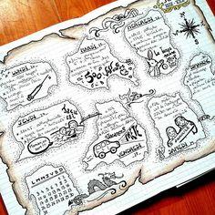 """4 Likes, 2 Comments - Marie.h0033 (@metro_boulot_bujo) on Instagram: """"Ma semaine carte au trésor s'achève. J'ai adoré cette mise en page, même si elle est longue à…"""""""