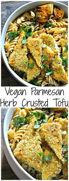 Jan 2, 2020 - Vegan Parmesan herb crusted tofu is cheesy, crispy, crunchy baked deliciousness. Serve with pasta, veggies or just on its own with a squeeze of lemon.