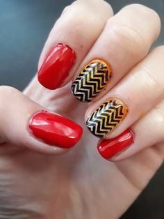 Chevron nail art.