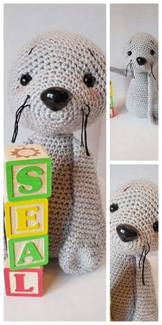 Amigurumi Baby Seal Free Pattern – Amigurumi Free Patterns And Tutorials Doll Amigurumi Free Pattern, Crochet Teddy Bear Pattern, Amigurumi Doll, Animal Knitting Patterns, Baby Seal, Hello Dear, Free Crochet, Crochet Ideas, Tutorials