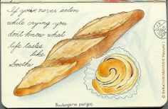 2014_01_13_bread_01_s  大阪のご近所さん パリゴのパン。  for this drawing I used: Faber castell polychromos Holbein artists colored pencil Moleskine sketchbook  © Belta(WAKABAYASHI Mayumi )