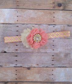 Gold, Light Blush and Ivory Headband - Ritsy - Shabby Chic Headband - Newborn - Infant - Toddler Headband - Vintage - Photography Prop on Etsy, $7.50