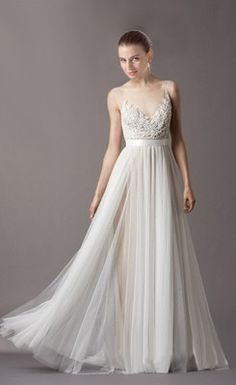 Awesome A-line V-neck Appliqued Wedding Dress with Buttons