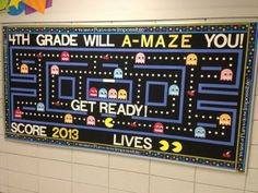 Random Act of PAC-MAN sighting pointed out by PSP and posted on his FB page: A 4th Grade Class wall welcome!