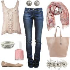 Off white loose fitted tank with sheer overlay embellished with silver beads and sequins. Straight leg denim pants. Floral scarf, warm pink nail polish, silver bangles earrings and sparkly floral hair clip, nude leather shoes and bag.