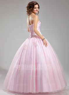 Ball-Gown Sweetheart Floor-Length Satin Tulle Wedding Dress With Ruffle Beading Appliques Lace (002012706)