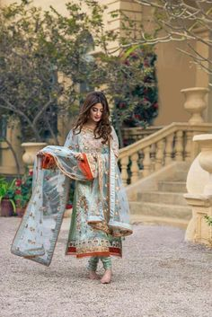 Like the orange edges Pakistani Wedding Outfits, Pakistani Dresses, Indian Dresses, Indian Outfits, Blue Dresses, Pakistani Couture, Pakistani Dress Design, Latest Pakistani Fashion, Stylish Dresses