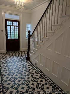 Gallery – Martin Mosaic Ltd – Victorian Floor Tiles in Wimbledon, London – Revolution Tiled Staircase, Tiled Hallway, Tile Stairs, House Stairs, Staircase Design, Painted Staircases, Modern Staircase, Victorian Hallway Tiles, Edwardian Hallway