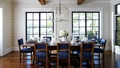 """Lake Home Dining ~ """"Cover the kitchen chairs with denim to match living room sofa slip covers"""""""