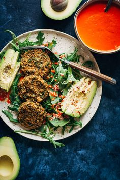 Herby Vegan Falafel w/ Smoky Red Pepper Dip