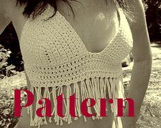 sewing pattern crop top free | PATTERN: White Fringe Crochet Hippi e Bohemian Boho Bikini Crop Top ...