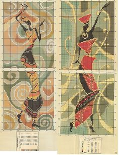 point de croix femmes africaines dansant - cross stitch dancing african ladies part 2