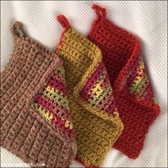 #1 Pot Holder Lot of 3 Mix Hand Crocheted Hot Pad Double Sided   $13.33
