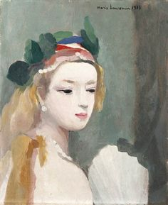 (France) Portrait of a woman with fan by Marie Laurencin oil on canvas. Portraits, French Art, Magazine Art, Female Art, Printmaking, Illustration, Oil On Canvas, Modern Art, Artwork