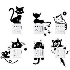 Switch Sticker, Yosemy Pcs] Lovely Cute Cartoon Vinyl Wall Switch Sticker for Home Decoration, Light Switch Decor Decals * Continue to the product at the image link. (This is an affiliate link) Wall Painting Decor, Diy Wall Art, Wall Paintings, Art Decor, Wall Stickers Murals, Wall Murals, Decoration Stickers, Wall Drawing, Cat Wall