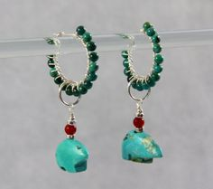 Turquoise Hoop Earrings, Zuni Bear Fetish & Coral Dangles, Sterling Silver Wire Wrapped, Handmade Gemstone Beaded Jewelry, Southwest, Boho