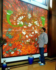 Pradokshanrutham.....8' x 8' Acrylic on canvas....#kerala mural paintings# mural paintings #murals of kerala# canvas paintings# acrylic paintings