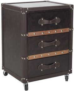 Nrman 3 Drawer Rolling Chest/Black-Brown Black-Brown-Silver