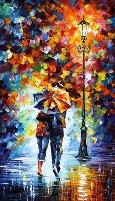 Rain Painting - Bonded By Rain 2 by Leonid Afremov Rain Painting, Palette Knife Painting, Oil Painting On Canvas, Canvas Art, Abstract Oil Paintings, Modern Paintings, Colorful Paintings, Leonid Afremov Paintings, Umbrella Art