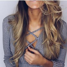 Summer SALE! Gray Lace Up Top, brand new! New with tags! Gray long sleeve lace up top! Very stretchy, sweater like material. I have sizes S -XL, ships out in 4 days! Tops