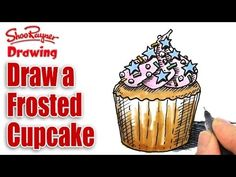 ▶ How to draw a fancy frosted cupcake - YouTube