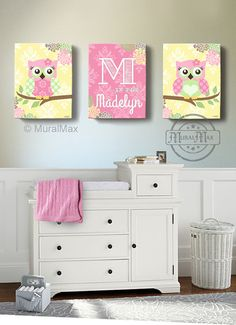 Girls wall art - OWL canvas art, Baby Nursery  Owl Canvas Set, 10x 12 woodland nursery art , Owl print for nursery. via Etsy