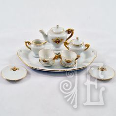 """Darling 10-Piece Vintage """"Transferware"""" with Gold Gilding Miniature from easterbelles-emporium on Ruby Lane...technique perfected mid-18th century"""