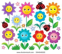 Happy flowers topic set 1 - Buy this stock vector and explore similar vectors at Adobe Stock Cute Wallpaper Backgrounds, Cute Wallpapers, Adobe, Happy Flowers, Flower Clipart, Applique, Clip Art, Kids Rugs, Bird