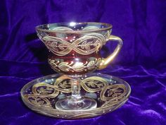 MOSER Cranberry Glass with Gold Gilt Pedastal Cup and Saucer in Pottery & Glass, Glass, Art Glass | eBay