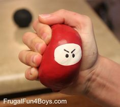 Squeezable ninja stress balls!  Easy to make with balloons and flour