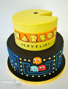 Pac Man themed birthday cake by The Butter End Cakery