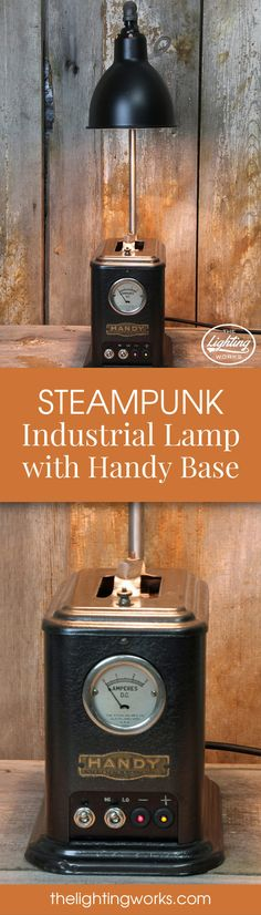 Steampunk Industrial Machine Age Lamp  Enjoy an evening with a good book by the warm light of this vintage steampunk styled table lamp!