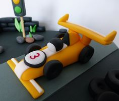 Race car cake topper, made by Wendy Franssen Cars Theme Cake, Car Themes, Car Cake Toppers, Birthday Cake Toppers, Race Car Cakes, Cake Toppings, Disney Cars, Homemade Cakes, Themed Cakes