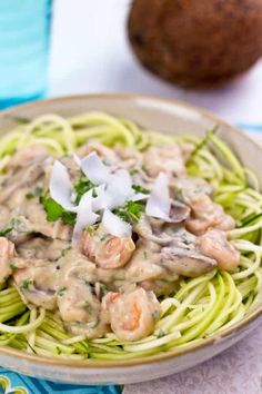 Creamy Shrimp On Zucchini Pasta | by Sonia! The Healthy Foodie