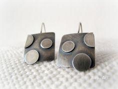 Sterling silver earrings  polka dots by ZizouArT on Etsy, $46.00