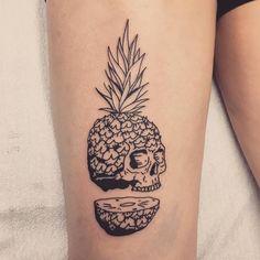 Sliced Pineapple Skull Tattoo by rozlyndubztattoos