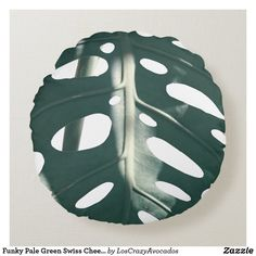 Funky Pale Green Swiss Cheese Plant Round Pillow