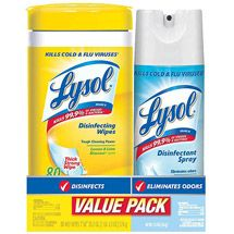 Walmart: Lysol Disinfecting Wipes & Crisp Linen Scent Disinfectant Spray Value Pack (Pack of 2)