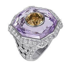 Cartier fine jewelry Sortilège de Cartier Series ring: platinum, amethyst, brown diamonds