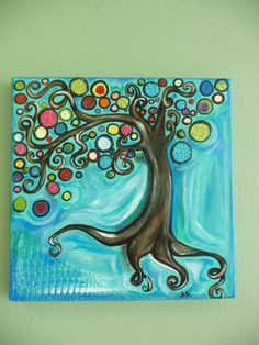 mixed media blue whimsy happy tree: artist used textured paper that gives the painting a nice touch.