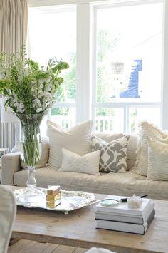 Neutral Living Room. Neutral Living Room Pillow, Coffee Table, Sofa, Decor. Monika Hibbs.