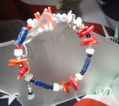 Red White and Blue Gemstone Bracelet by joolrylane on Etsy    (Patriots colors)