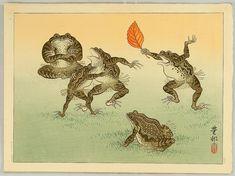 Artist: Ohara Koson  Title: Frog Sumo  Date: Ca. 1930s