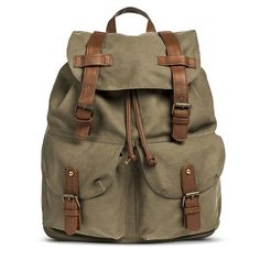 Women's Solid Canvas Backpack with Drawstring Closure - Olive
