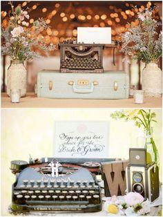 Decoração de Casamento Rústico - Máquina de Escrever | blogdamariafernanda.com