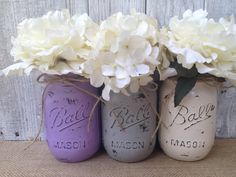 Pint Mason Jars,Cream,Purple,Grey,Painted Mason Jars,Rustic Wedding Centerpieces,Baby Shower Decoration,Flower Vases,Rustic Home Decor on Etsy, $16.50