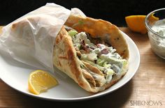 Grilled Greek chicken pitas with simple tzatziki sauce