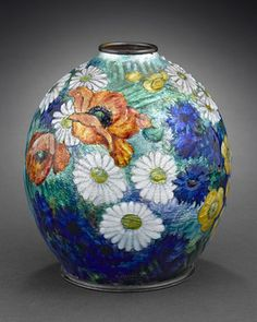 Limoges Enamel Vase by Camille Faure   I want to do an Ostrich Egg like this