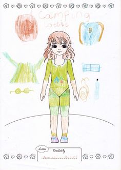 Lottie Outfit Design Competition - Amelia, aged 7 from the UK has created 'Camping Lottie'   complete with sun hat, sun glasses, Tent, walking boots, lunch box and Waterproof coat. Great work Amelia.